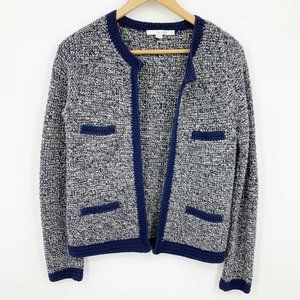 Boden Navy Hand Crochet Pocket Cardigan Size 8
